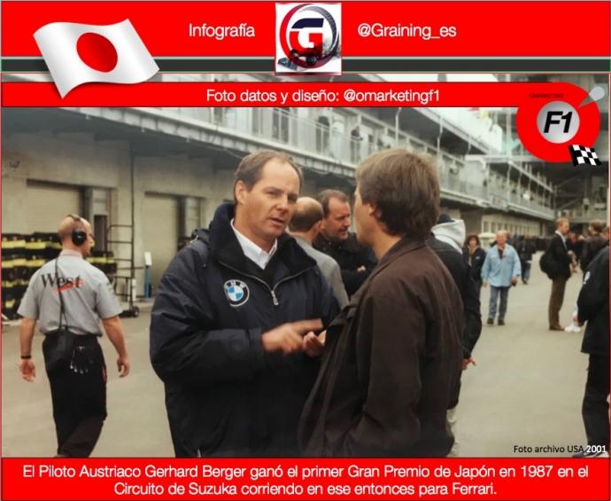 Gerhard Berger ganó el Gran Premio Inaugural de Japón en Suzuka en 1987. @omarketingf1