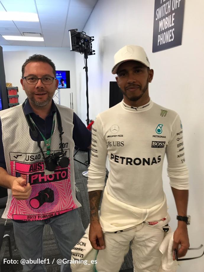 Omar Alvarez y Lewis Hamilton Conferencia de Prensa FIA USGP COTA 2017.