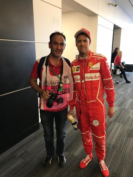Alejandro Bulle Goyri y Sebastian Vettel Gran Premio de Estados Unidos 2017.