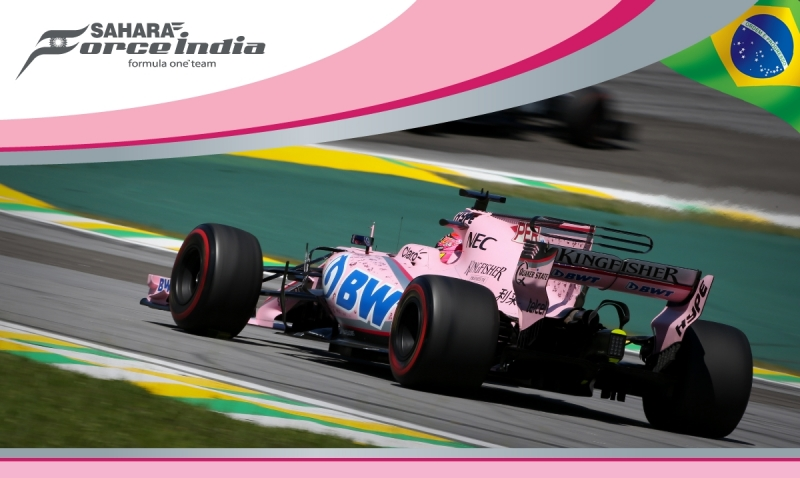 Las Panteras Rosas de Force India terminan incompletas en el GP de Brasil. @omarketingf1