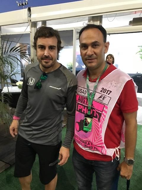 Alejandro BulleGoyri y Fernando Alonso Paddock del GP de EUA. COTA 2017. Foto: @omarketingf1