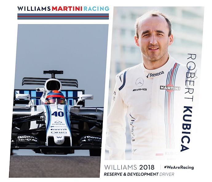 Robert Kubika Piloto reserva y de desarrollo de Williams 2018. @omarketingf1