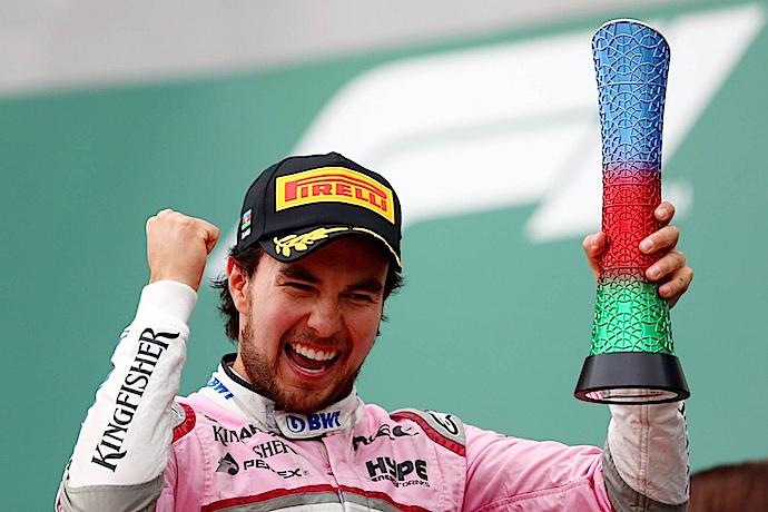 Regresa la nube rosa a la F1 y Checo se sube al podio en Baku en tercero del GP de Azerbaiyán 2018