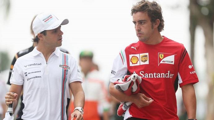 "Massa afirma que Alonso está a la par de Schumacher, pero que ""divide equipos"""
