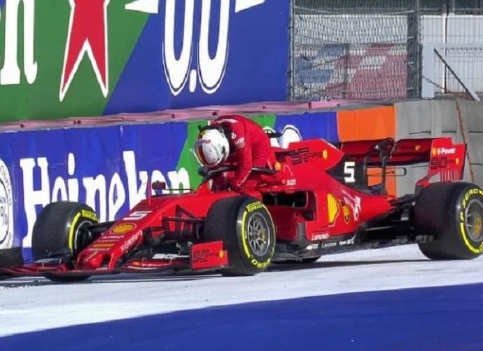 Binotto justifica el abandono de Vettel por motivos de seguridad