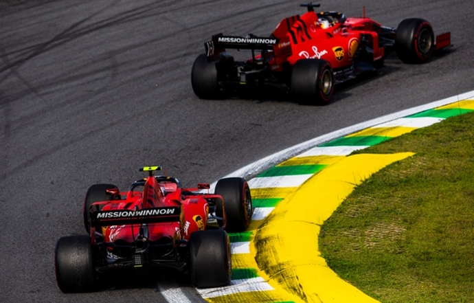 Enfado de Binotto por el accidente de Leclerc y Vettel en Interlagos