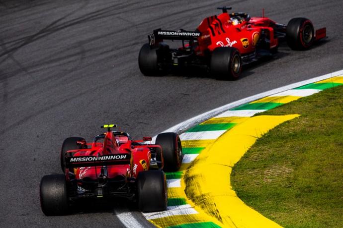 Enfado de Binotto por el accidente de Leclerc y Vettel en Interlagos