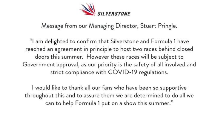 OFICIAL: Silverstone albergará dos Grandes Premios si las autoridades lo permiten