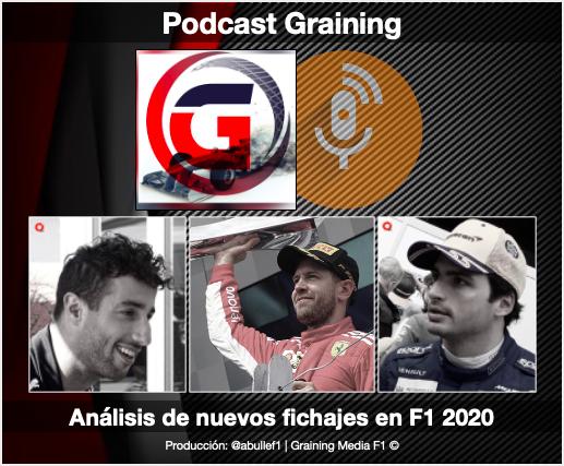 Podcast Graining F1 No. 40 con el análisis de los nuevos fichajes y celebración de su aniversario No. 70